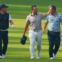 昨日に引き続き今日も、色々と見分けの付かない3人。 2021年 ブリヂストンオープンゴルフトーナメント 2日目 照屋佑唯智 亀代順哉 西山大広