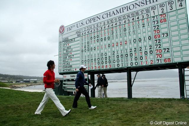 2010年 全米オープン2日目 リーダーボード メジャーのリーダーボードに「ISHIKAWA」の文字。明日はずっと上のほうに掲示される