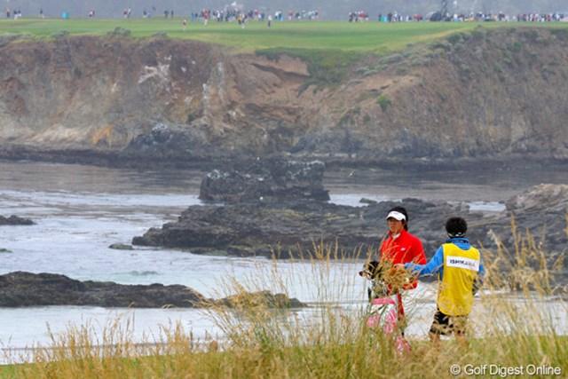 2010年 全米オープン2日目 石川遼 この写真だけを見ると、まるで「全英オープン」の景色のよう