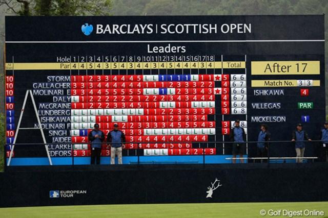 2010年 バークレイズ・スコットランドオープン 初日 リーダーズボード 18番脇のボードにも、石川遼の名前が載った
