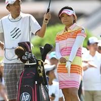 本日のベストドレッサーはワンピース着用の智恵ちゃんに決定(個人の勝手な意見です) 2010年 スタンレーレディスゴルフトーナメント最終日 有村智恵
