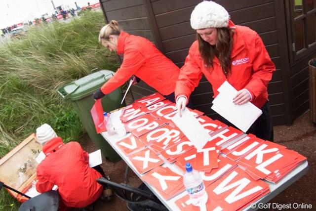 2010年 全英リコー女子オープン2日目 リーダーボード 大きなリーダーボードの名前は、1文字ずつ入れます