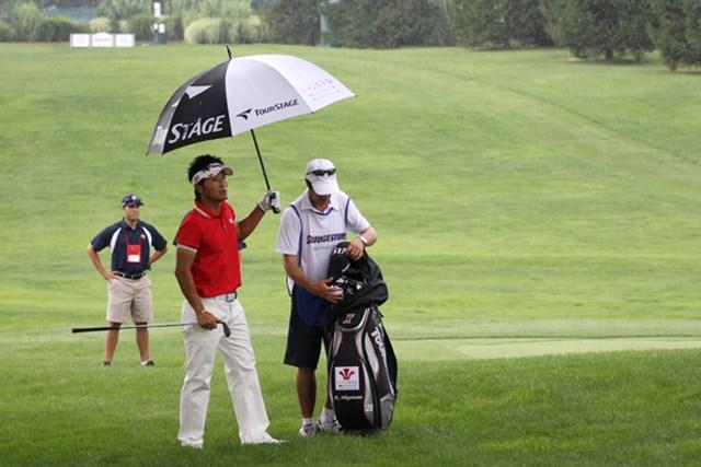 2010年 WGCブリヂストンインビテーショナル 2日目 宮本勝昌 16番パー5でティショットを右サイドの木に当てた宮本勝昌