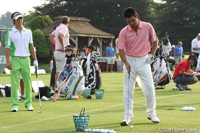 2010年 WGC ブリヂストンインビテーショナル 2日目 池田勇太&石川遼 朝8時、遼が「ティ低い方がいいですよ」とアドバイスすれば勇太は「これじゃダフっちゃうよ」と一言