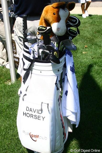 2010年 WGC ブリヂストンインビテーショナル 3日目 デビッド・ホージー 石川遼とラウンドしたホージー。英語では「horsey」なるほど、だから馬のヘッドカバーなのか