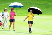 2010年 ニトリレディスゴルフトーナメント初日 姉の久保啓子(左)と妹の久保宣子