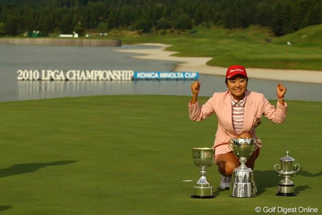 2010年 日本女子プロゴルフ選手権大会コニカミノルタ杯最終日 藤田幸希 2位に4打差をつけて初のメジャータイトルを獲得した藤田幸希