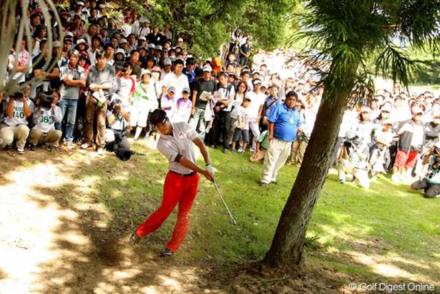 2010年 アジアパシフィック パナソニックオープン最終日 石川遼 10番の2打目を木に当てるトラブル。痛恨のダボを叩き、優勝争いから後退した石川遼