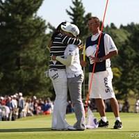 健闘をたたえあうウナちゃんとナリちゃん。上位3人が韓国勢でした 2010年 ミヤギテレビ杯ダンロップ女子オープンゴルフトーナメント最終日 イム・ウナ イ・ナリ