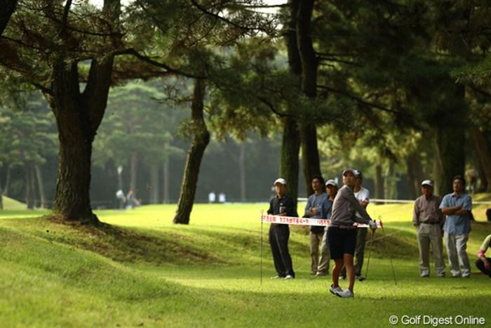 桃子ちゃんも15番ミドルホールのティショットを林の中へ。思いっきり体を捩じってフックを掛けます。 2010年 日本女子オープンゴルフ選手権競技2日目 上田桃子