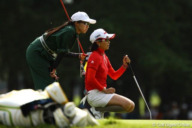 出入りの激しいゴルフでスコアを落としてしまい、優勝戦線に絡めず、一緒にラウンドした宮里美香にプレッシャーを掛けられませんでした。