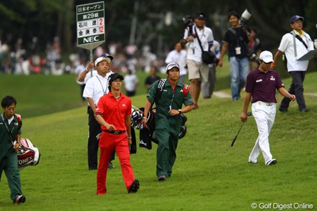 2010年 日本オープンゴルフ選手権競技 最終日 石川遼 日韓戦に続いて、どうもキム・キョンテと同組は相性が悪いんでしょうか・・・。賞金ランキング1位の座もキム・キョンテに奪われてしまいました。