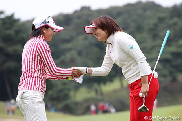 2010年 樋口久子IDC大塚家具レディス 初日 茂木宏美&上原彩子 笑顔で「今日はどうも有難うございました。」挨拶は大事です。