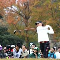 後ろの紅葉も天気がよければきれいなんでしょうね。 2010年 伊藤園レディスゴルフトーナメント 最終日 中田美枝