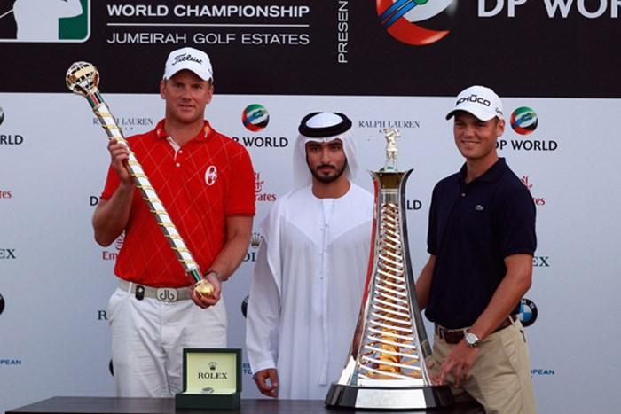 最終戦で優勝を飾ったロバート・カールソン(左)と、賞金王のタイトルを手にしたマーティン・カイマー(右)(Andrew Redington/Getty Images) 2010年 ドバイ・ワールドチャンピオンシップ 最終日 ロバート・カールソン、マーティン・カイマー