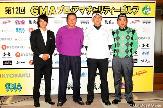 2010年 GMAプロ・アマチャリティゴルフ 尾崎将司、石川遼、松坂大輔、池田勇太 尾崎将司、石川遼、松坂大輔、池田勇太の4人がトークショーを行い、来年への抱負などを語った