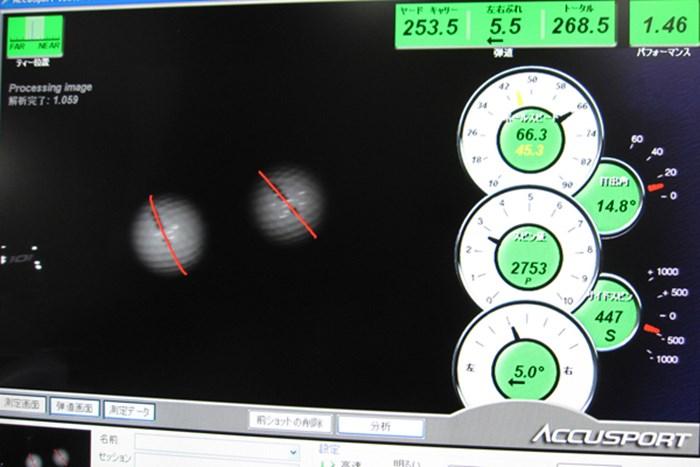 弾道計測器で検証してみると・・・スピン量2700回転台と吹け上がらず強弾道が打てる マーク試打 マグレガー マックテック DS101 ブルードライバー NO.5