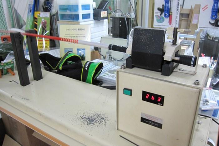 DJ-6(S)の振動数は263cpmと、純正シャフトと比べてやはりハードに仕上がっている マーク試打 グラファイトデザイン ツアーAD DJシャフト NO.4