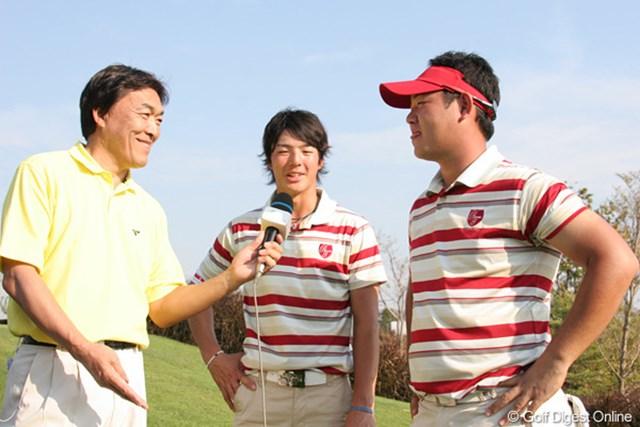 2連勝の石川遼&薗田俊輔組!羽川豊さんのインタビューに応える表情も明るい!