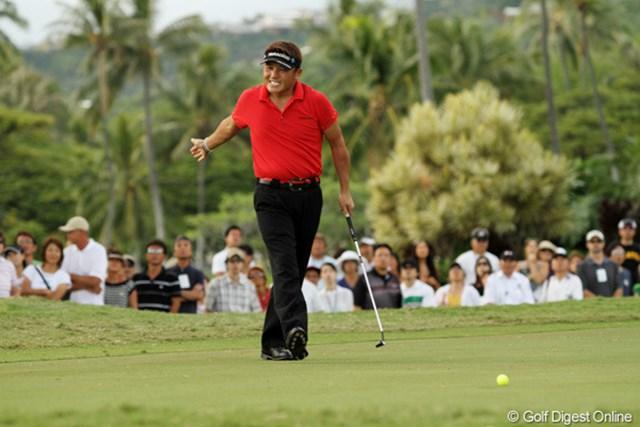 2011年 ソニーオープンinハワイ 最終日 丸山茂樹 最終ラウンドの16番でバーディパットを外し悔しがる丸山茂樹。8年ぶりの米ツアー制覇は叶わなかった