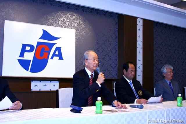 2011年 シニアツアー日程発表 松井功PGA会長 2011年のシニアツアー日程が発表。松井功PGA会長が会見を行った