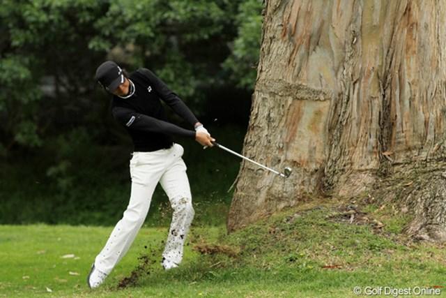 2011年 ノーザントラストオープン 2日目 石川遼 13番、石川遼のティショットは木の横に行ってしまったが、ナイスリカバリーでパーセーブ