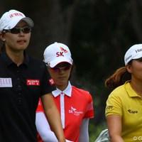 最終組のひとつ前は全員が韓国人選手。左からユ・スンヨン、チェ・ナヨン、キム・インキョン 2011年 HSBC女子チャンピオンズ 最終日 (左から)ユ・スンヨン、チェ・ナヨン、キム・インキョン