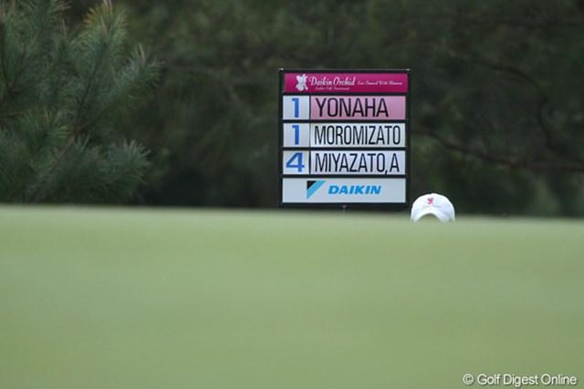 2011年 ダイキンオーキッドレディスゴルフトーナメント 初日 キャリングボード うーん、苦しい沖縄期待の選手達。赤字になって欲しい!