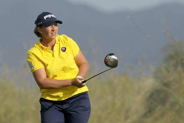 アンジェラ・スタンフォード 2011年 RRドネリー LPGA ファウンダーズカップ 初日を終え、首位に立つアンジェラ・スタンフォード(Stephen Dunn/Getty Images)
