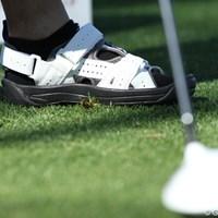 アマチュアの一人がはいていたゴルフシューズ。通気性抜群 ゴルフサンダル 2011年クラフトナビスコチャンピオンシップ