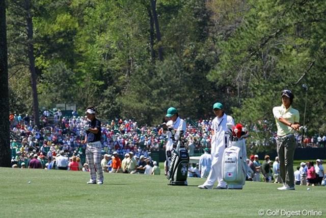 2011年 マスターズ 事前情報 石川遼&藤田寛之 月曜日から大勢のパトロンの熱気に包まれているオーガスタナショナル