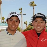 プロとしてデビュー戦を迎える小平智(左)と阿部裕樹 2011年 Novil Cup 事前 小平智 阿部裕樹