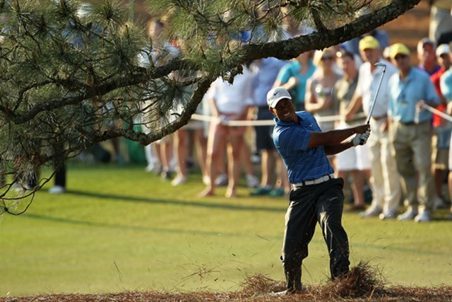 2011年 マスターズ3日目 タイガー・ウッズ 17番でティショットを左に曲げたタイガーは、低い姿勢で松の下からショット(Jamie Squire/Getty Images)
