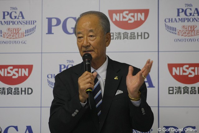 「日本プロゴルフ選手権大会 日清カップヌードル杯」の開幕前日、公式会見に出席したPGAの松井功会長