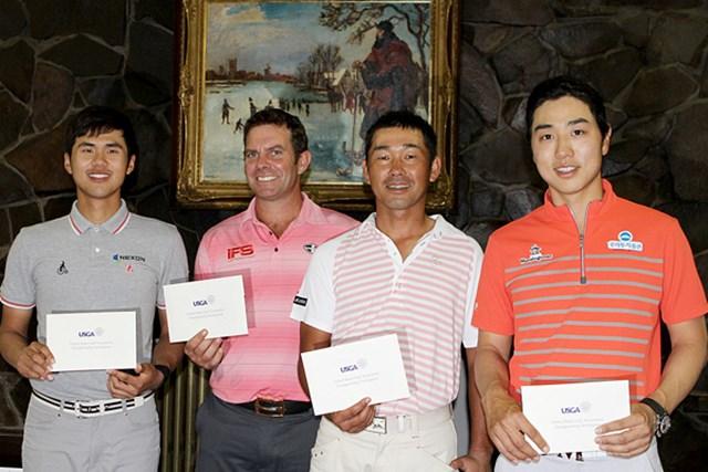 最終予選会を勝ち抜き、「全米オープン」出場を決めた(左から)金度勲、S.バー、久保谷健一、ベ・サンムン 【写真提供:日本ゴルフ協会】