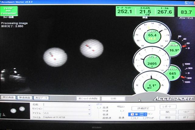 弾道計測器で計測してみると・・・高い打ち出しで、タイミングが合った時の飛距離は最上級だ