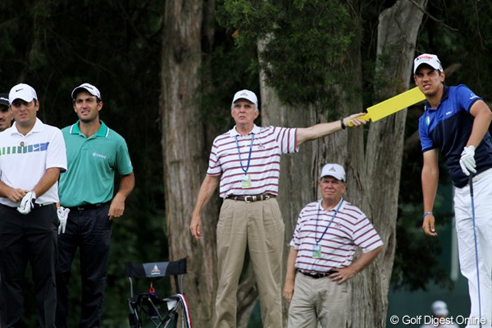 左はフランチェスコとエドアルドのモリナリ兄弟、右はマッテオ・マナッセロ 2011年 全米オープン 初日 イタリアン・グループ