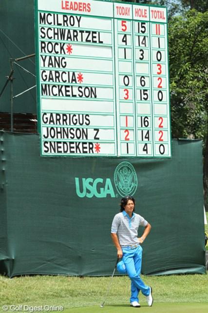 2011年 全米オープン 2日目 練習場 午後スタートだった遼くん。スタート前から「-11」という大きな目標を見せつけられた