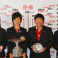 (左から)堀奈津佳、比嘉真美子、チヒロ・イケダ、佐伯珠音。マッチプレーで勝ち上がった上位4名の選手が表彰式に出席した 2011年 日本女子アマチュアゴルフ選手権競技 最終日 (左から)堀奈津佳、比嘉真美子、チヒロ・イケダ、佐伯珠音