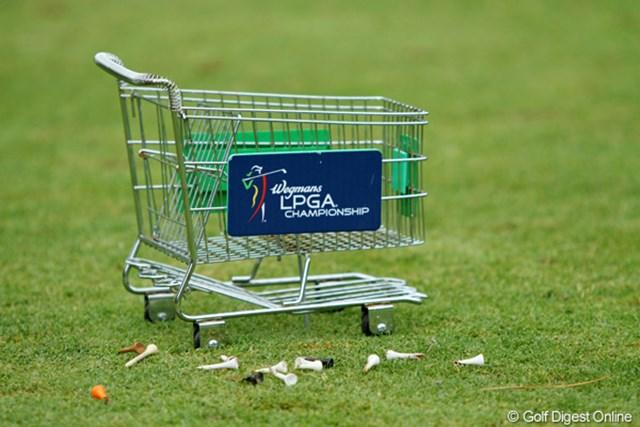 2011年 ウェグマンズLPGAチャンピオンシップ 最終日 ティマーク スポンサーはスーパーマーケットチェーン。落ちてるティペグをカートに入れたい…