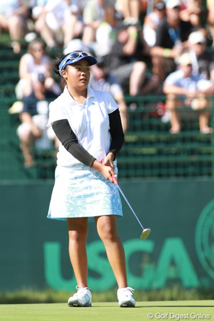 2011年 全米女子オープン 3日目 マリエル・ガルディアーノ ハワイ州出身の13歳(!)。ハワイ予選から本戦に出場。13歳での本戦出場は史上3番目の若さ
