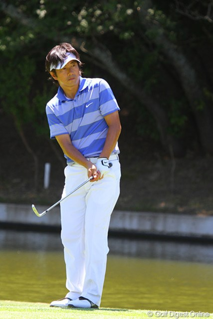 2011年 東日本大震災復興支援 PGAチャリティプロアマゴルフ大会 深堀圭一郎 足の状態も回復してきた深堀圭一郎も元気に18ホールをラウンドした