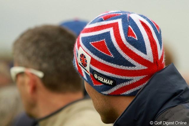 2011年 全英オープン 初日 ニットキャップ アメリカなら星条旗ですが、イギリスなのでユニオンジャック