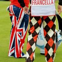 アメリカ人選手ですが、ユニオンジャックのパンツでプレー。地元受けは最高! 2011年 全英リコー女子オープン 初日 メーガン・フランセラ