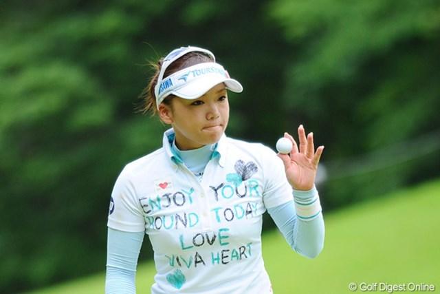 7番までは静かなプレーが続いた有村智恵だが、8番以降4バーディを奪取!