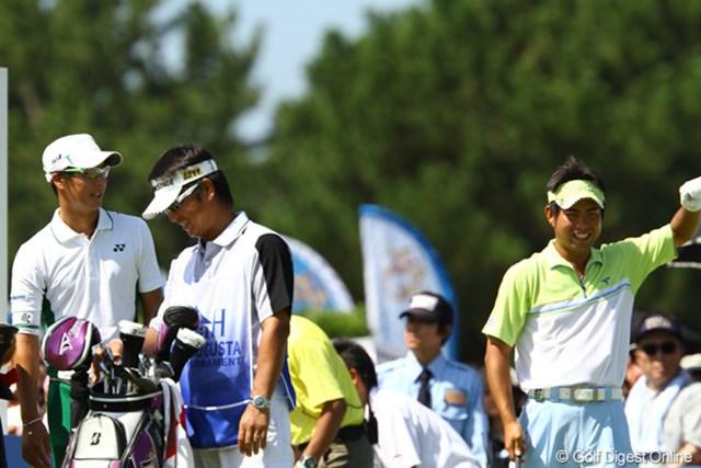 2011年 VanaH杯KBCオーガスタゴルフトーナメント 3日目 池田勇太・石川遼 これまでは同組でラウンドすると、お互いになかなかスコアを伸ばし合えなかった2人。スタート前は、2人共リラックスした表情でした