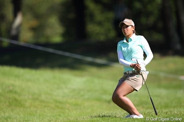 2011年 日本女子プロゴルフ選手権大会コニカミノルタ杯 初日 若林舞衣子 ぐっとこらえたらボールはそのままカップに