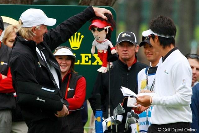 石川遼(右)はグレッグ・ノーマン(左)のお墨付き?※写真は2009年「ザ・プレジデンツカップ」