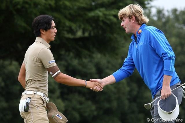 2011年 ブリヂストンオープンゴルフトーナメント 初日  ブラント・スネデカー 石川遼 スーパースターの2人.