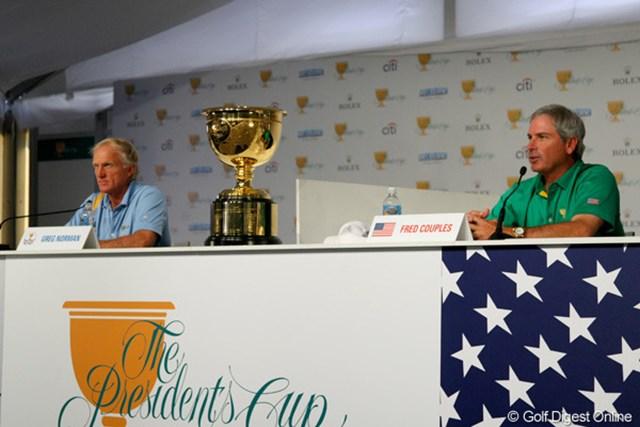 【WORLD】大会を盛り上げる?両キャプテンの舌戦  グレッグ・ノーマン、フレッド・カプルス 世界選抜キャプテンのG.ノーマン(左)とアメリカ選抜キャプテンのF.カプルス(右)